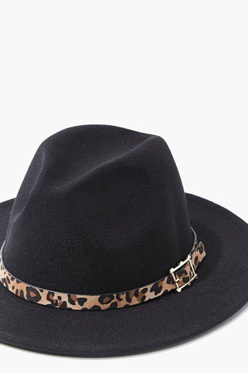 Faux Suede Leopard-Trim Fedora, image 4