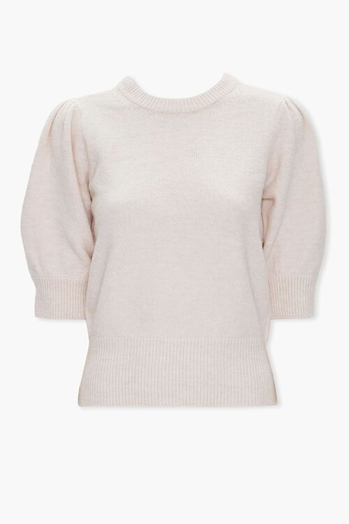 Sweater-Knit Puff-Sleeve Top, image 1