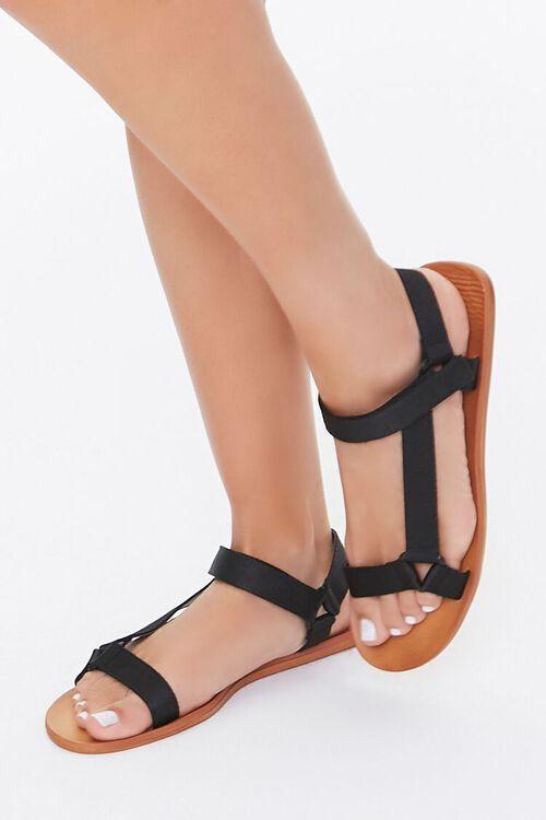 BLACK Adjustable Caged Flat Sandals, image 1