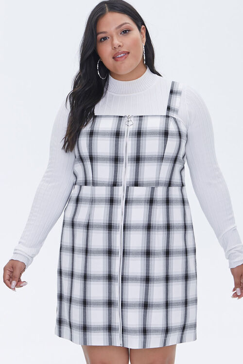 Plus Size Plaid Zippered Overall Dress, image 1
