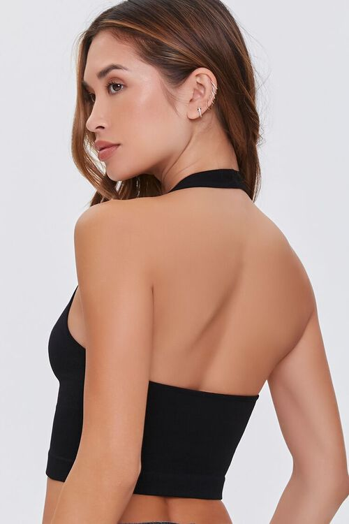 Seamless Ribbed Knit Halter Top, image 3