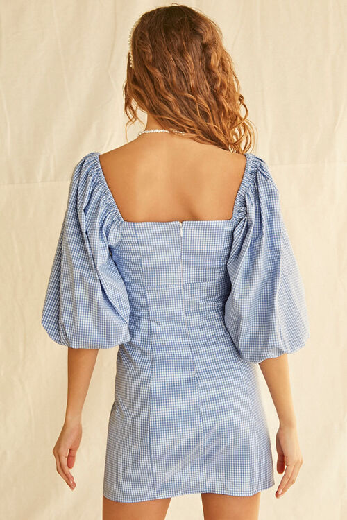 Gingham Balloon-Sleeve Dress, image 3