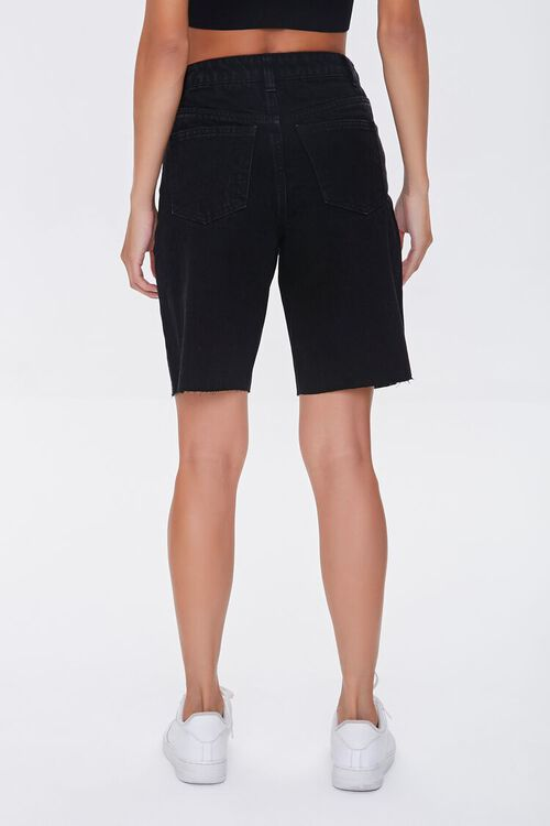 BLACK Raw-Cut Denim Bermuda Shorts, image 4