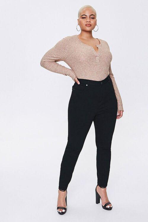 Plus Size Split-Neck Bodysuit, image 4