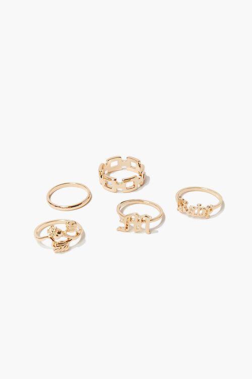 GOLD Rose Charm Ring Set, image 1