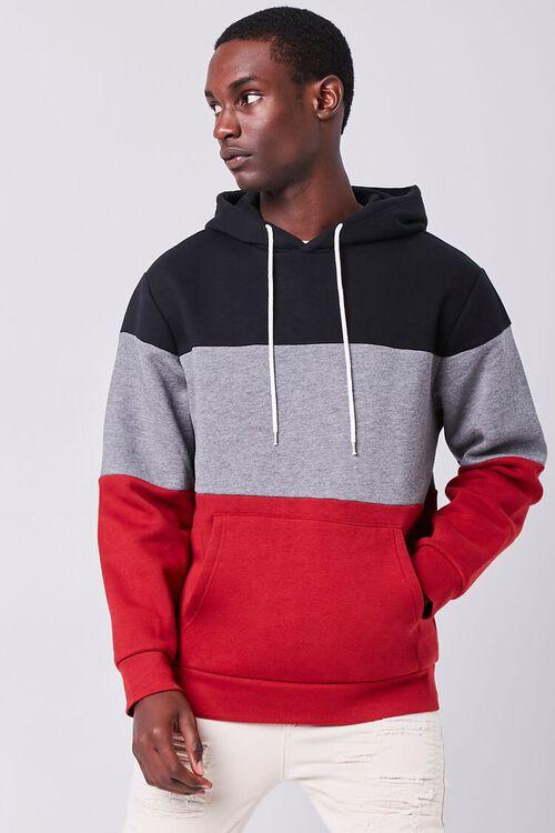 BURGUNDY/MULTI Colorblock Fleece Hoodie, image 1