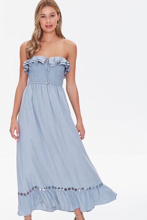 Strapless Ruffle-Trim Maxi Dress, image 1
