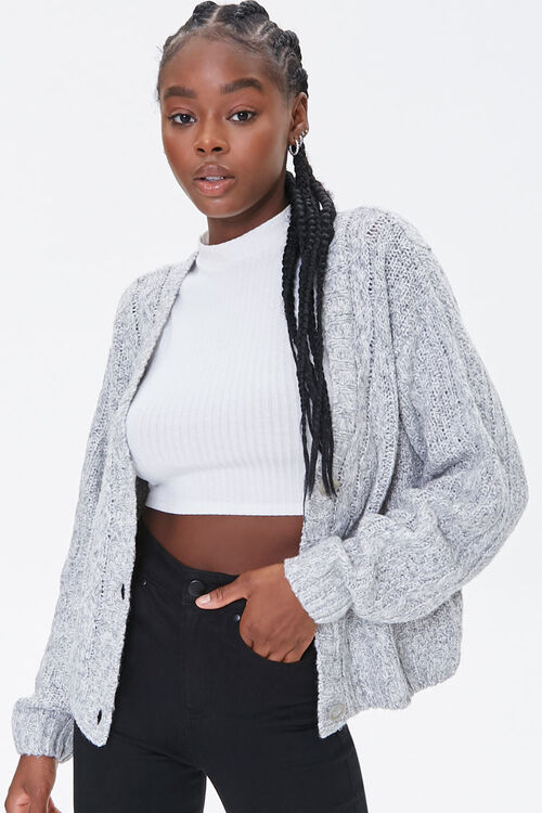 Cable Knit Button-Front Cardigan, image 1