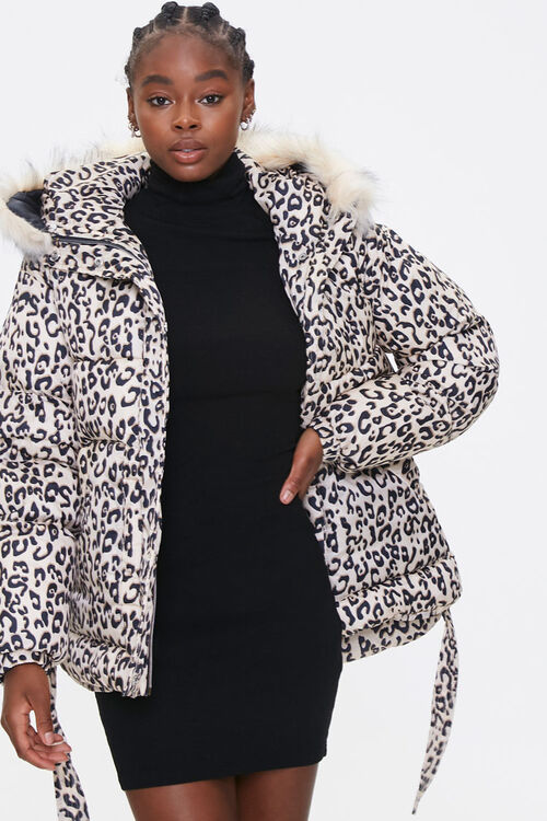 Leopard Print Puffer Jacket, image 1