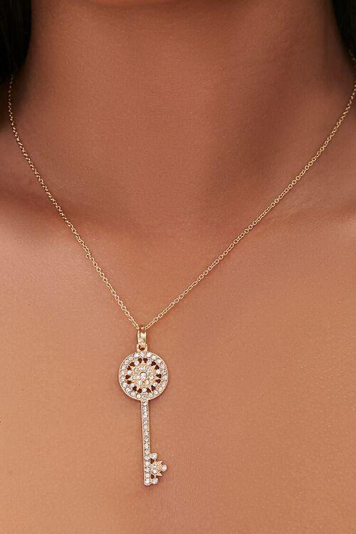 GOLD Rhinestone Key Pendant Necklace, image 1