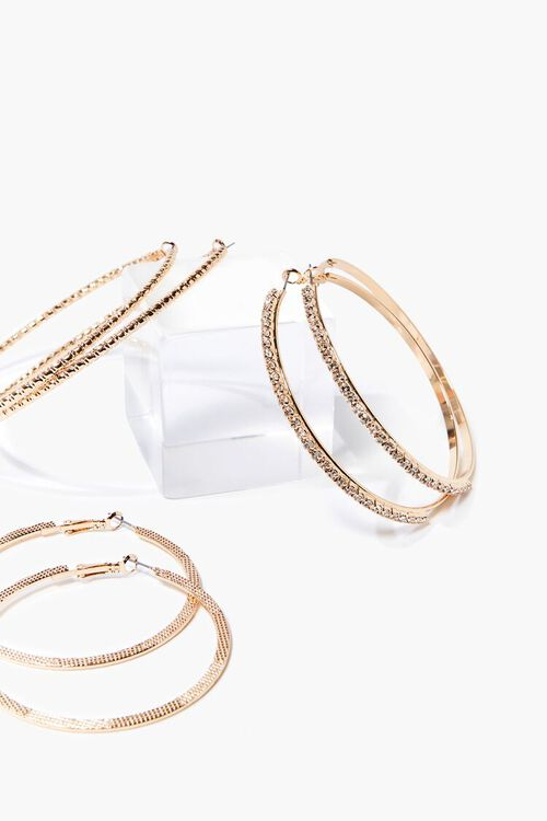 GOLD/CLEAR Textured Hoop Earring Set, image 1
