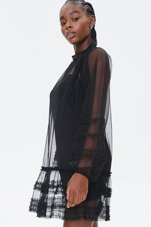 Mesh Ruffle-Trim Mini Dress, image 2