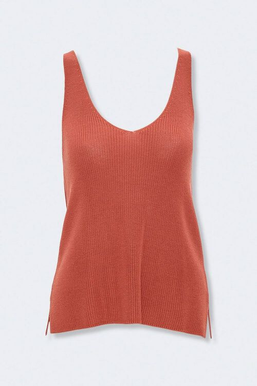 Vented Sweater-Knit Tank Top, image 1