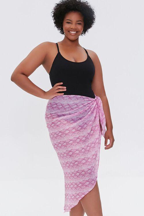 Plus Size Snake Print Swim Cover-Up Sarong, image 1