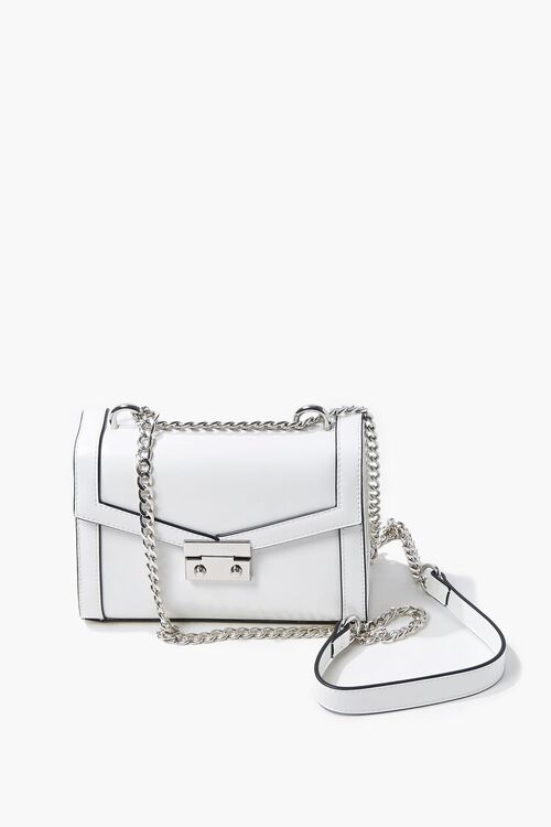 WHITE Structured Piped-Trim Crossbody Bag, image 1