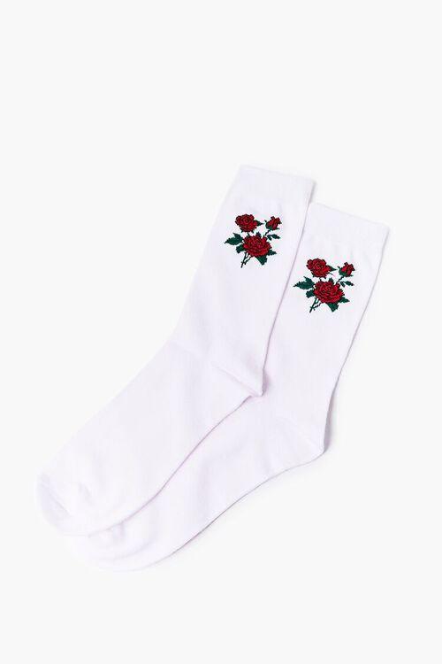 Men Rose Graphic Crew Socks, image 2