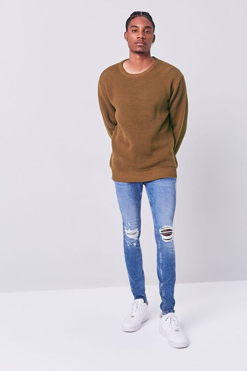 LIGHT BROWN Ribbed Crew Neck Sweater, image 4