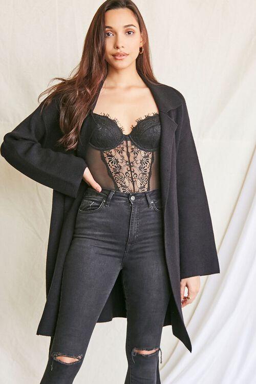 BLACK Belted Longline Cardigan Sweater, image 5