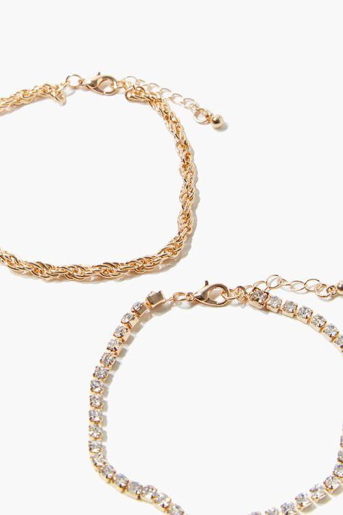 GOLD Twisted Rhinestone Anklet Set, image 2