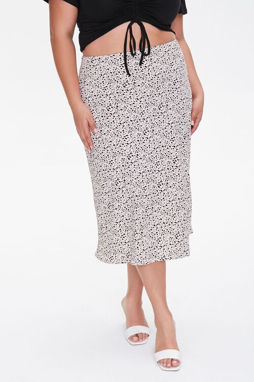 Plus Size Spotted Print Midi Skirt, image 2