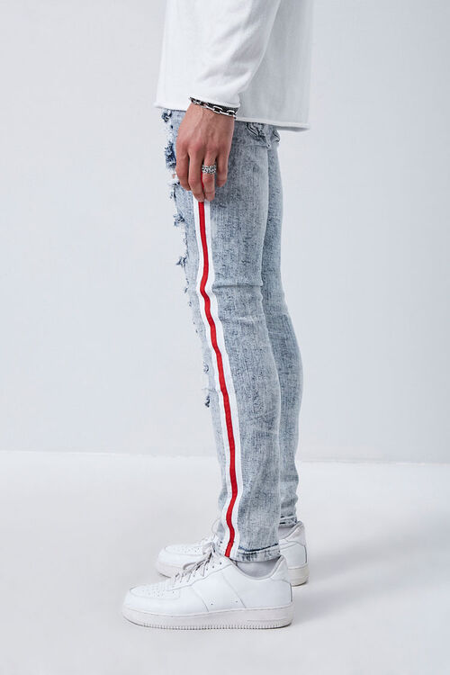 MEDIUM DENIM/MULTI Side-Striped Distressed Jeans, image 3
