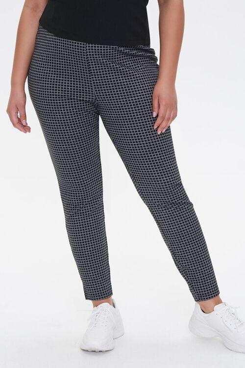 Plus Size Checkered Print Leggings, image 2