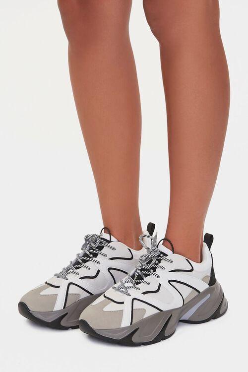 BLACK/WHITE Colorblock Low-Top Sneakers, image 1