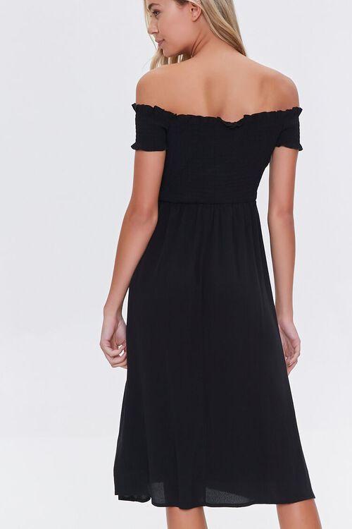 Smocked Off-the-Shoulder Midi Dress, image 3