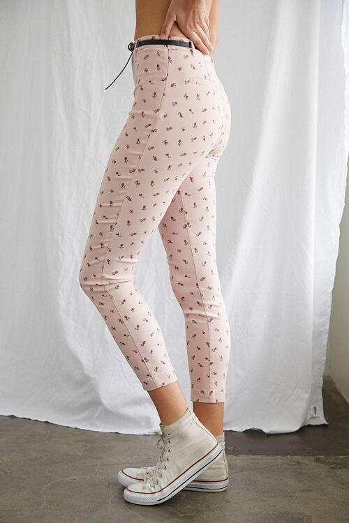 Belted Floral Ankle Pants, image 3
