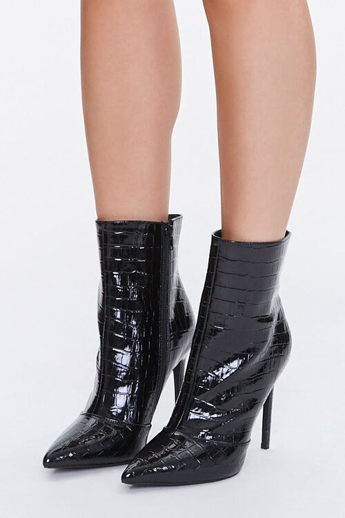 Faux Croc Leather Stiletto Booties, image 1