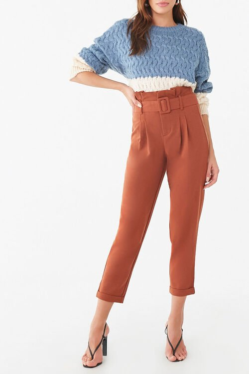 D-Ring Belt Cuffed Trousers, image 1