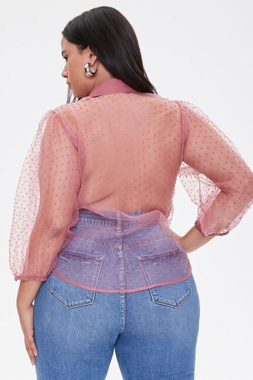 Plus Size Clip Dot Organza Shirt, image 3