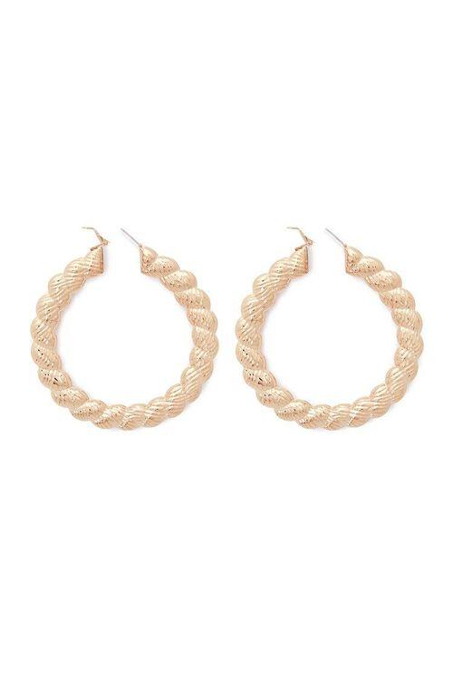 Etched Twisted Hoop Earrings, image 2