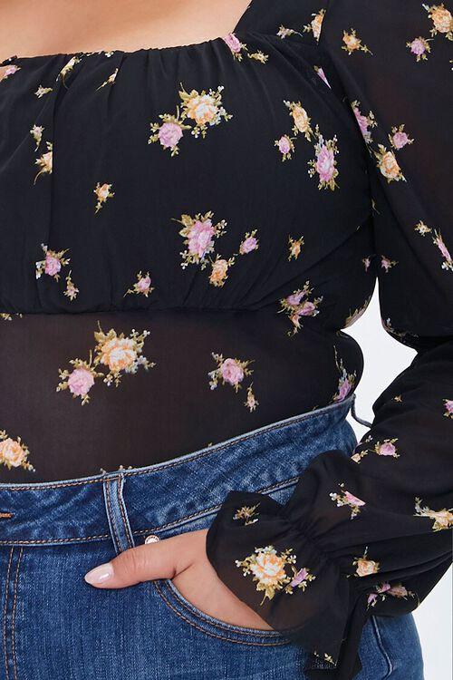 Plus Size Floral Print Bodysuit, image 5