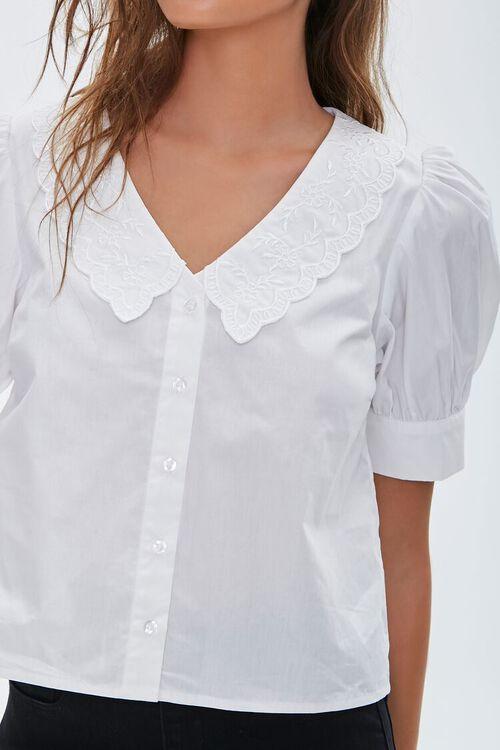 Crochet Lace Puff-Sleeve Shirt, image 5