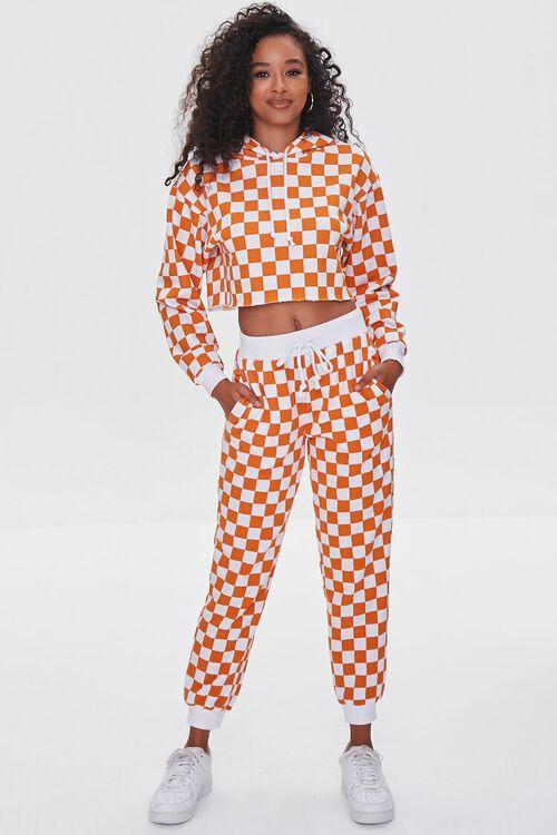 ORANGE/WHITE Checkered Cropped Hoodie, image 4
