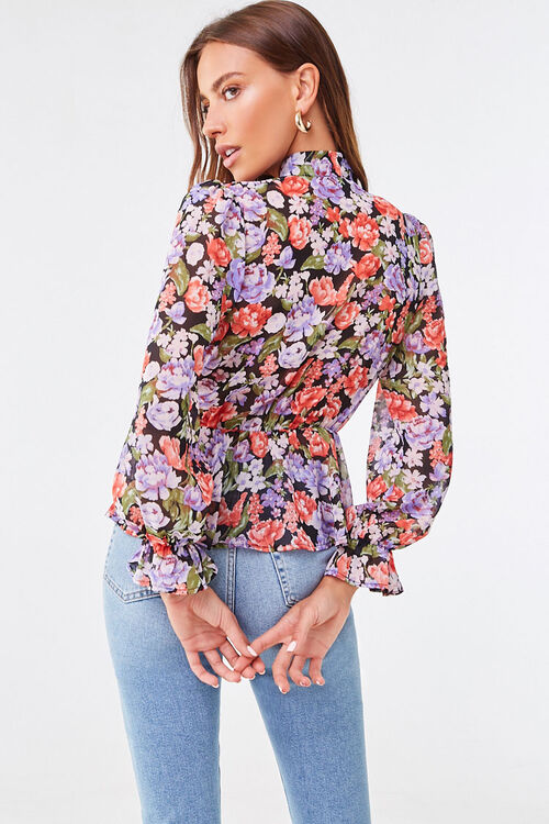 Floral Chiffon Pussycat Bow Top, image 3