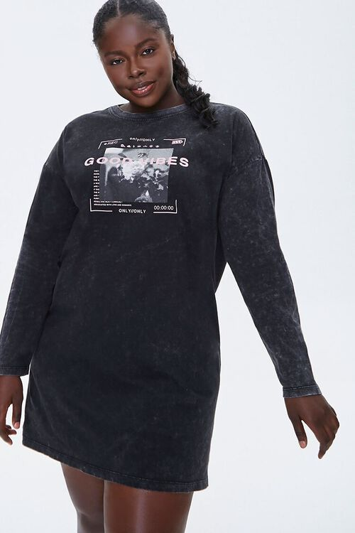 Plus Size Good Vibes Graphic T-Shirt Dress, image 1