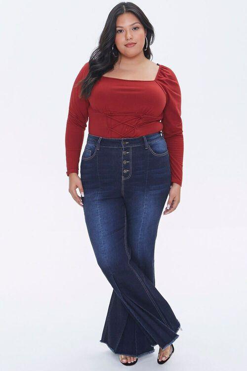 Plus Size Frayed Flare Jeans, image 5