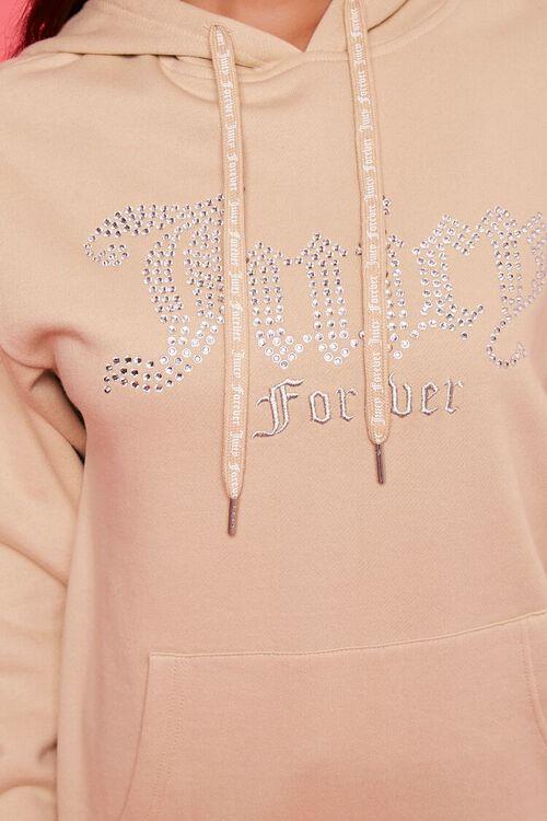 TAN/MULTI Juicy Couture Rhinestone Fleece Hoodie, image 5