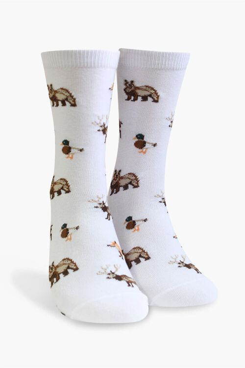 Men Woodland Animal Print Crew Socks, image 1
