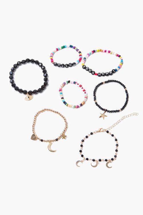 BLACK/GOLD Beaded Charm Bracelet Set, image 2