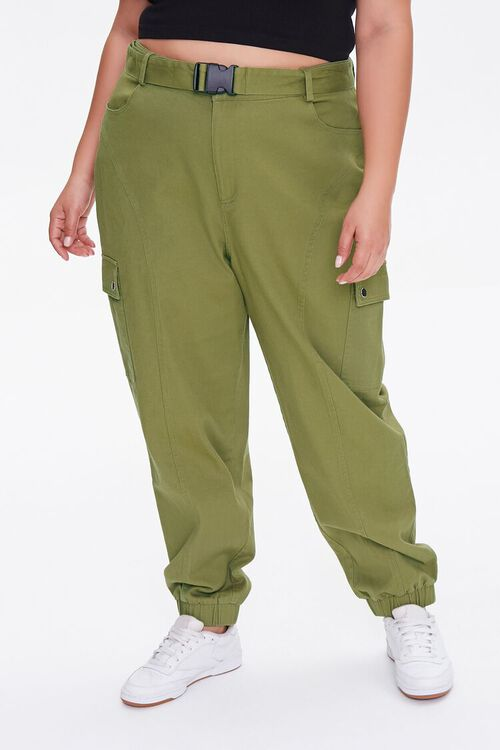 OLIVE Plus Size Belted Cargo Joggers, image 2