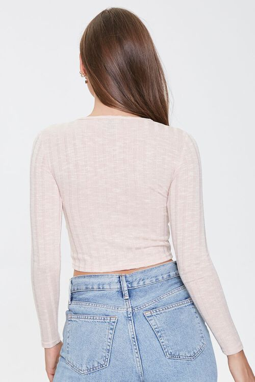 Marled Button-Front Crop Top, image 3