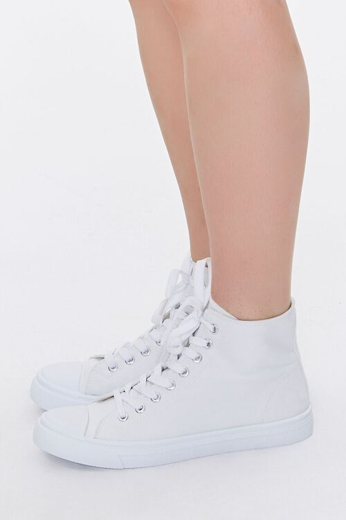WHITE Lace-Up High-Top Sneakers, image 2