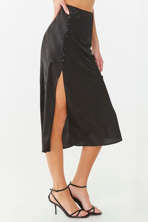 Striped Satin Midi Skirt, image 3