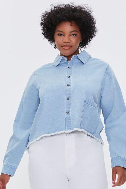 LIGHT DENIM Plus Size Frayed Denim Shirt, image 1