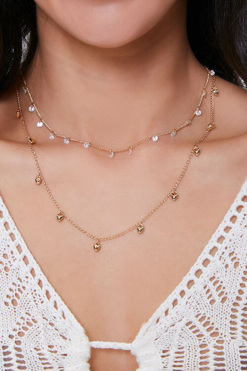 CZ Stone Heart Necklace Set, image 1