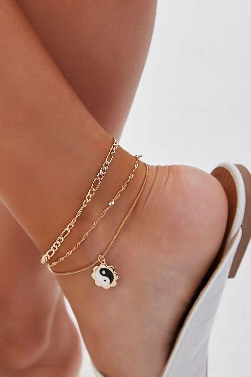 GOLD/BLACK Yin Yang Charm Anklet Set, image 1