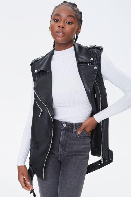 BLACK Faux Leather Moto Vest, image 1